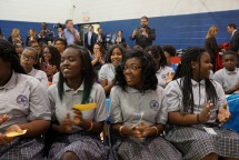 Surprise moment when the students found out they're receiving free laptops!