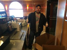 Mike Vuksanic prepares boxes to be loaded with Thanksgiving dinners!